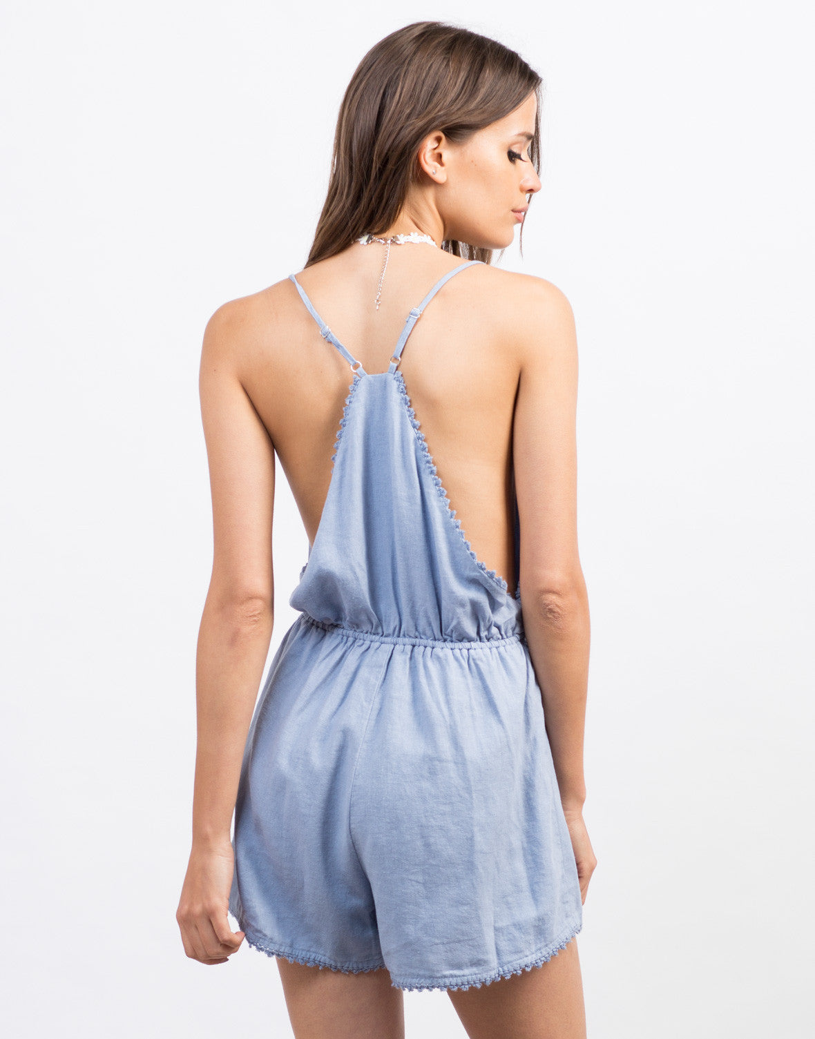 Back View of Frayed Linen Romper