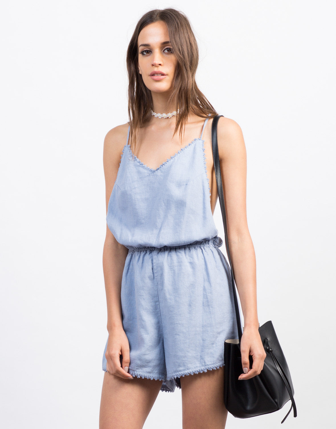 Front View of Frayed Linen Romper