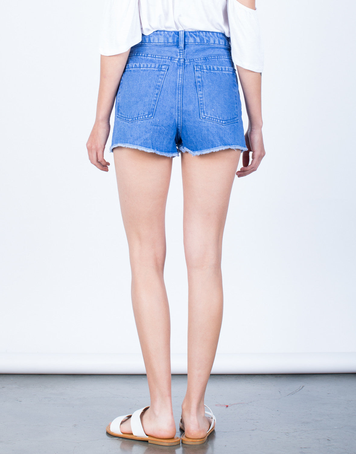 Back View of Frayed Mom Jean Shorts