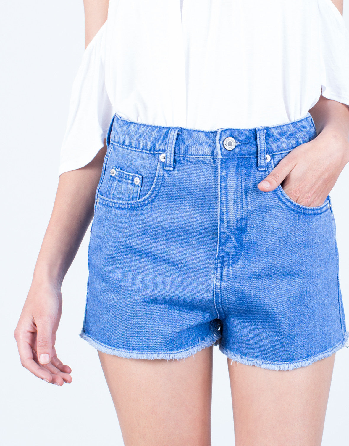 Detail of Frayed Mom Jean Shorts