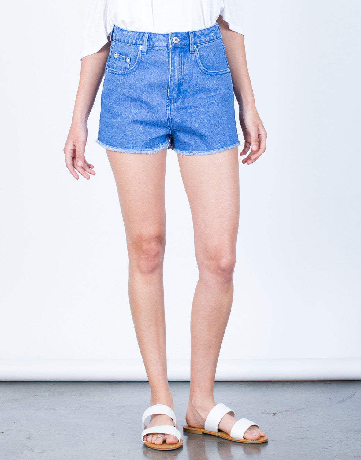 Front View of Frayed Mom Jean Shorts