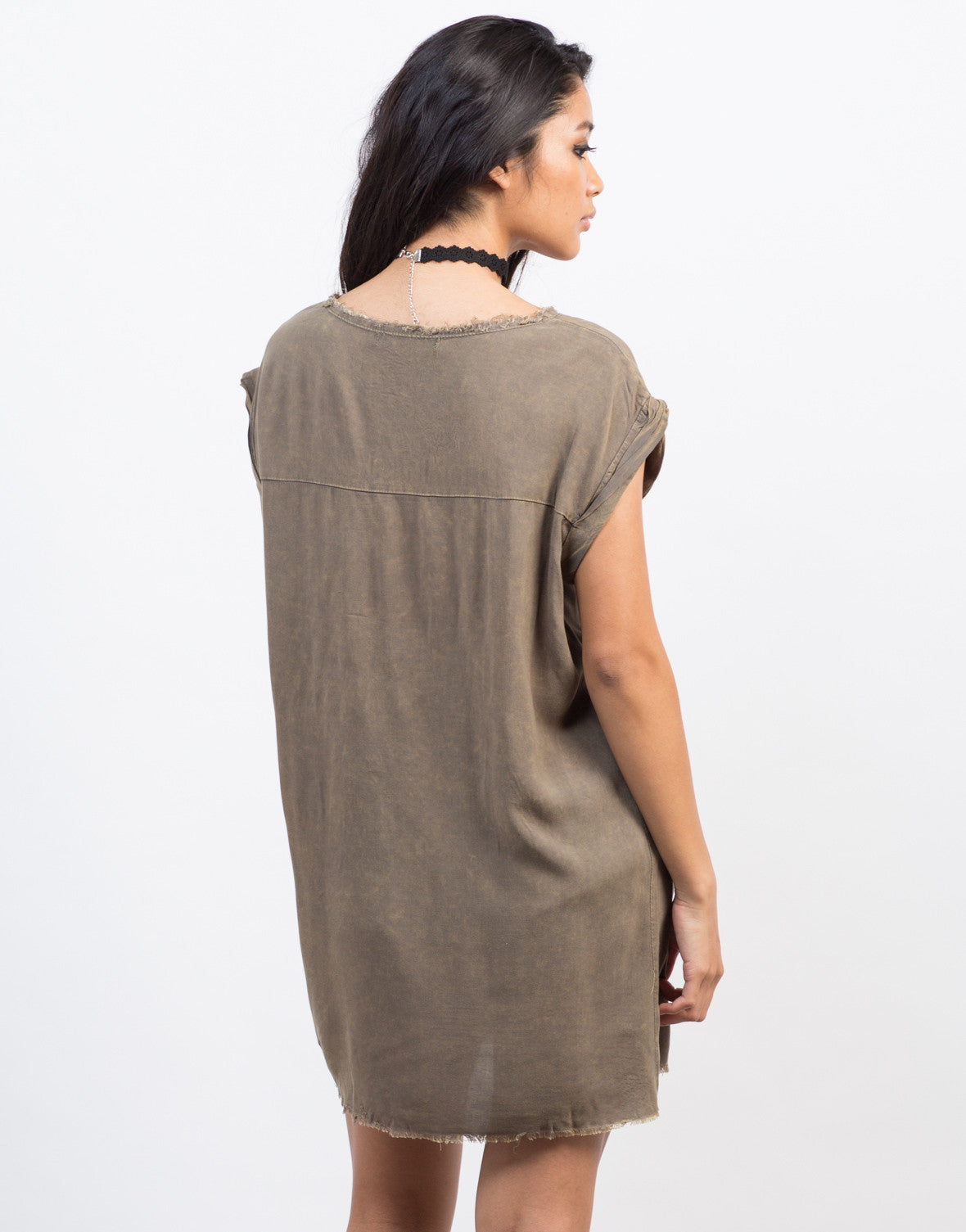 Back View of Frayed Oversize Top