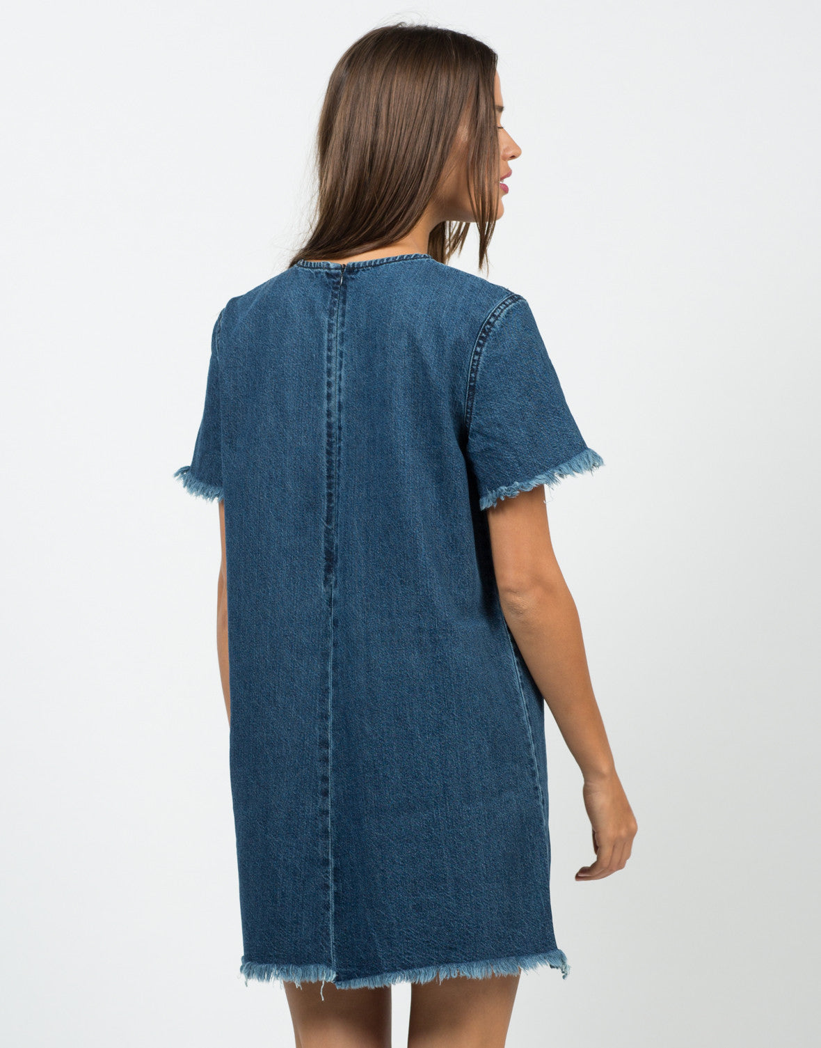 Back View of Frayed Denim Shirt Dress