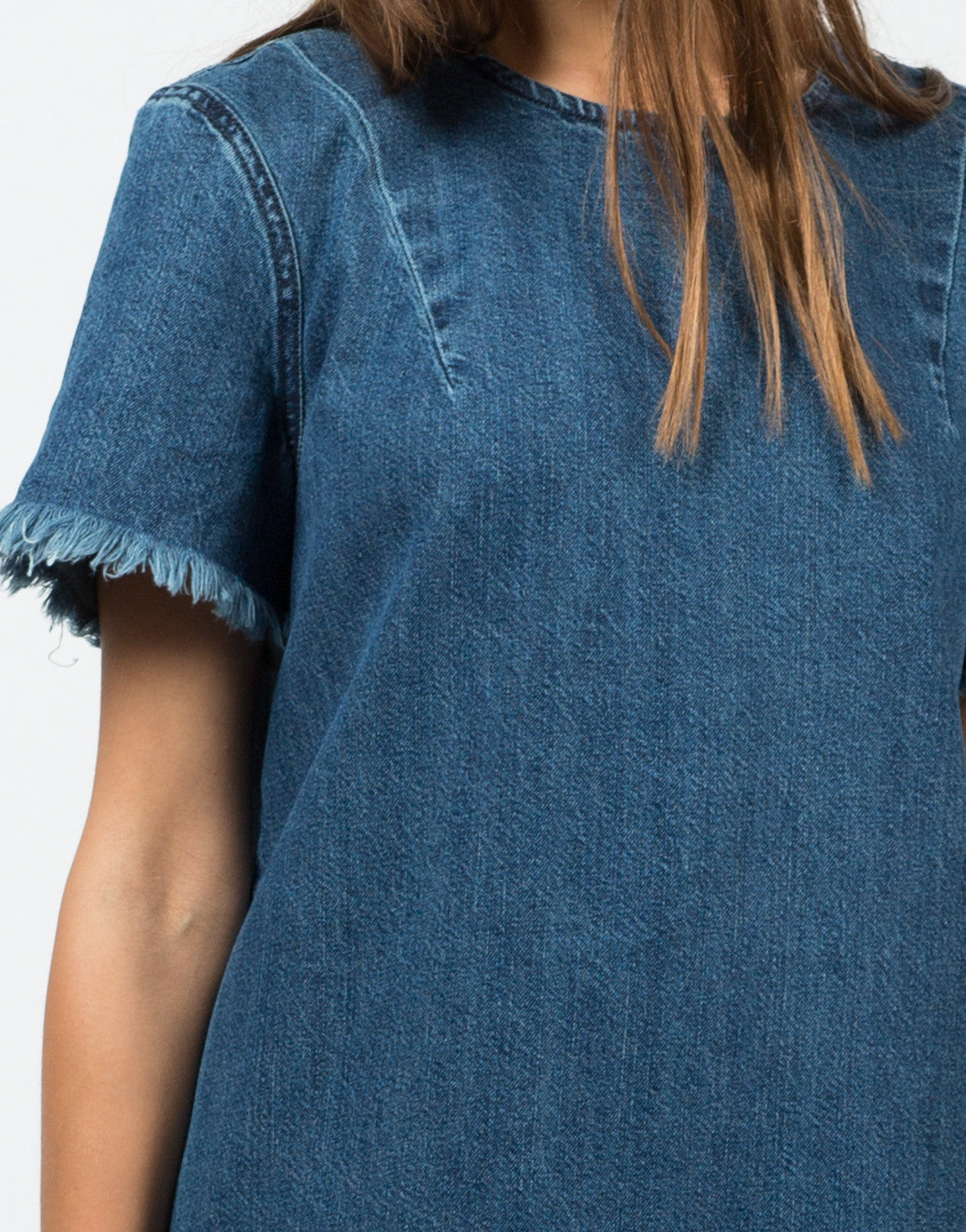 Detail of Frayed Denim Shirt Dress