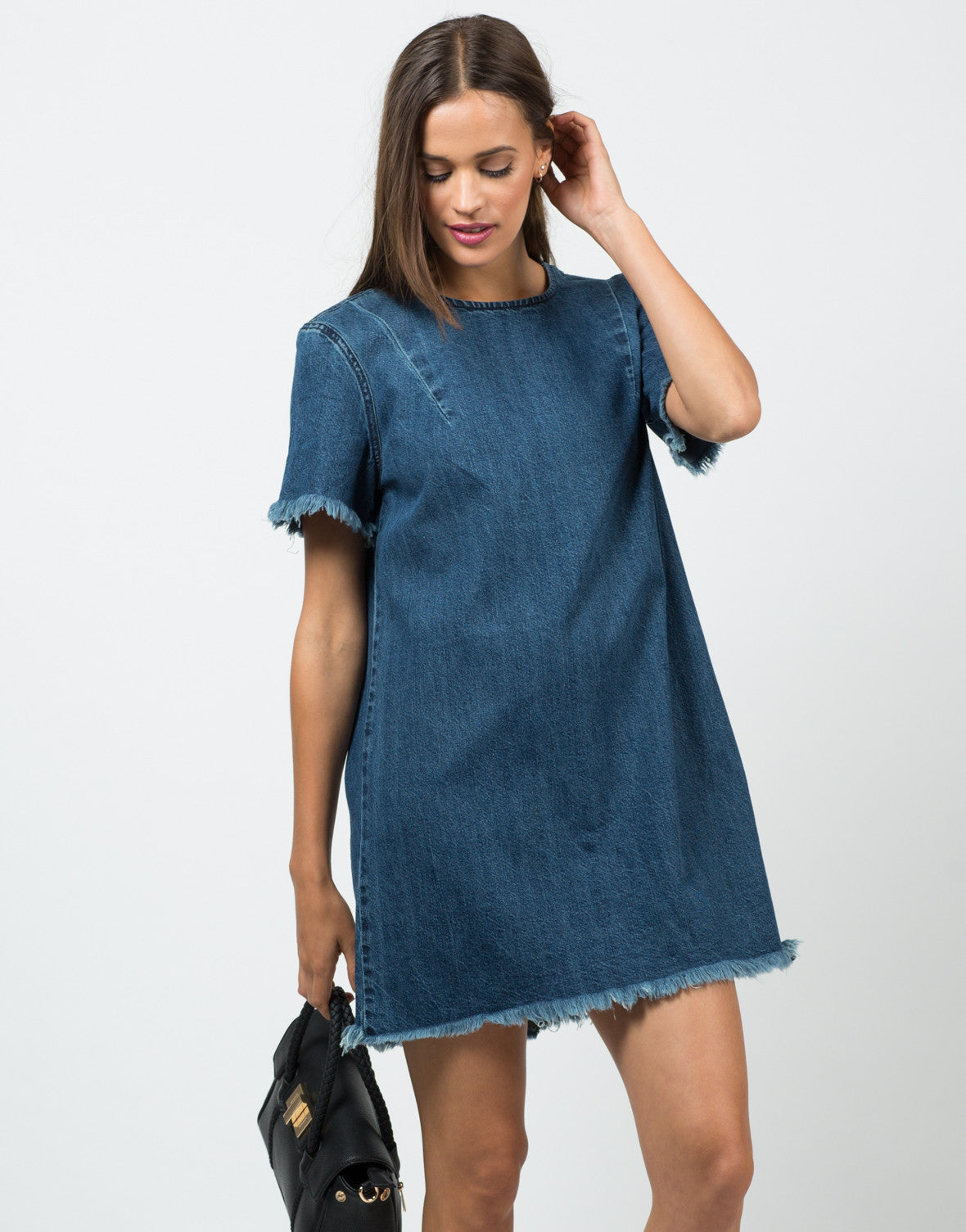Front View of Frayed Denim Shirt Dress