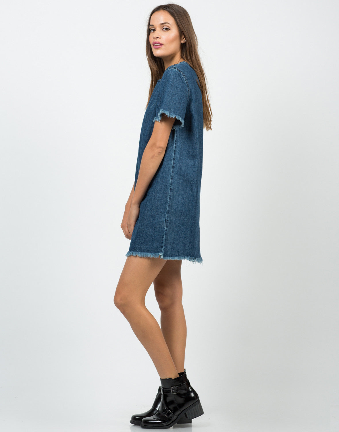 Side View of Frayed Denim Shirt Dress