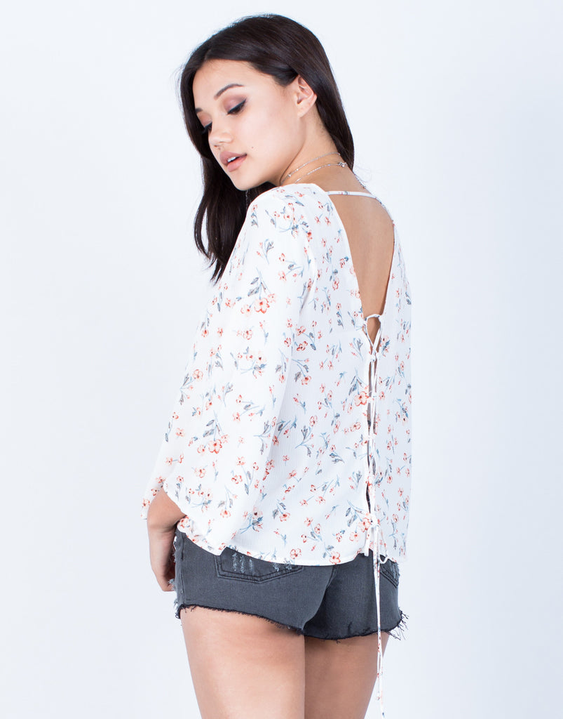 Back View of Free Flow Floral Blouse