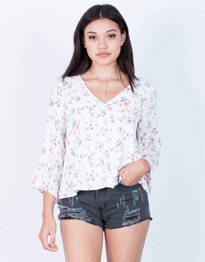 Front View of Free Flow Floral Blouse