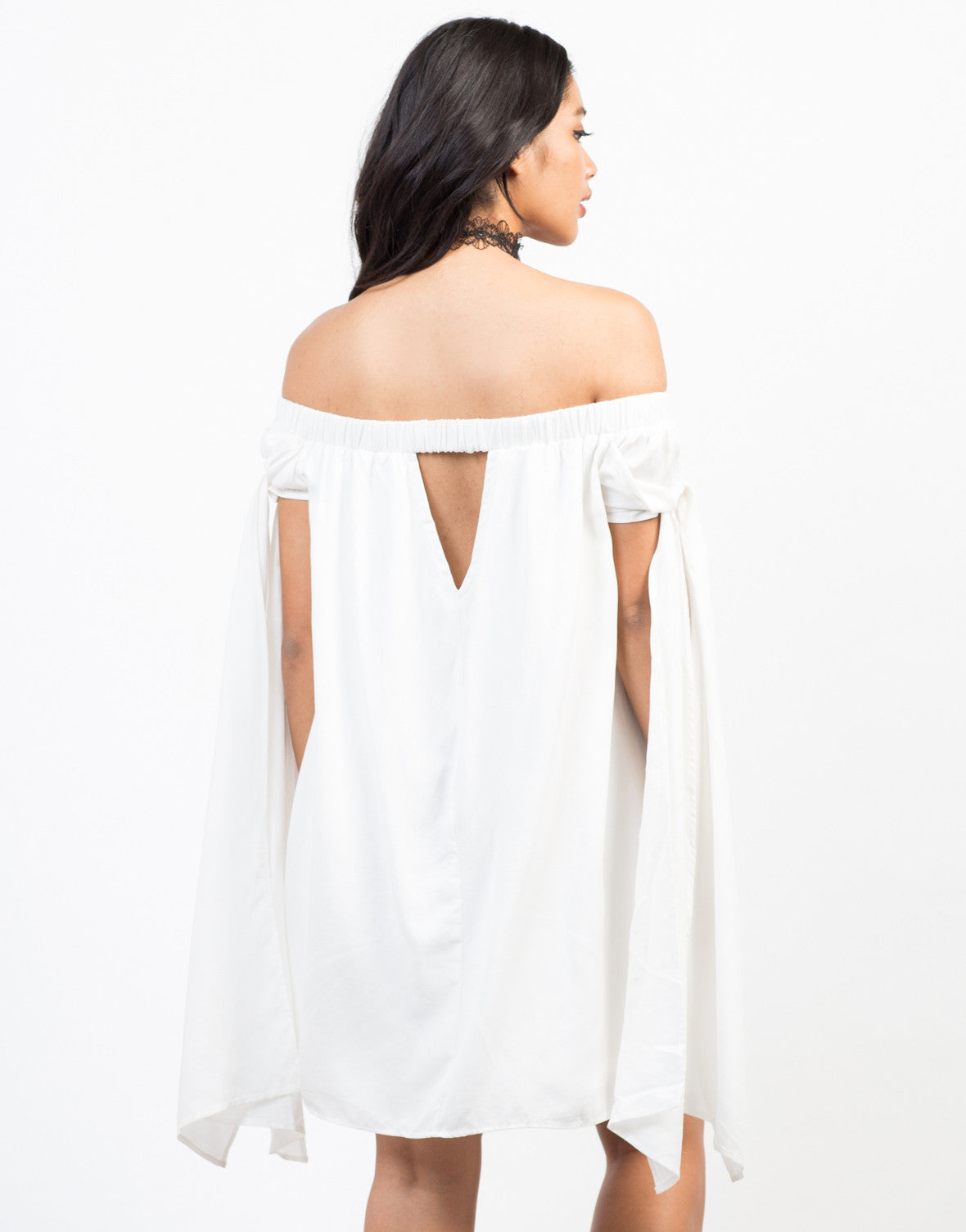 Back View of Free Flow White Dress