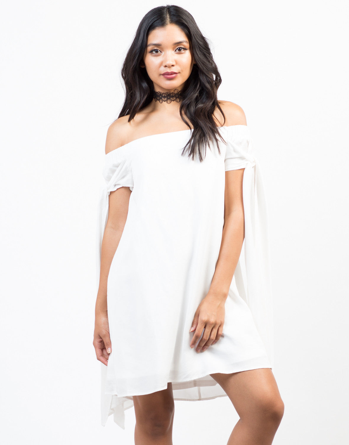 Front View of Free Flow White Dress