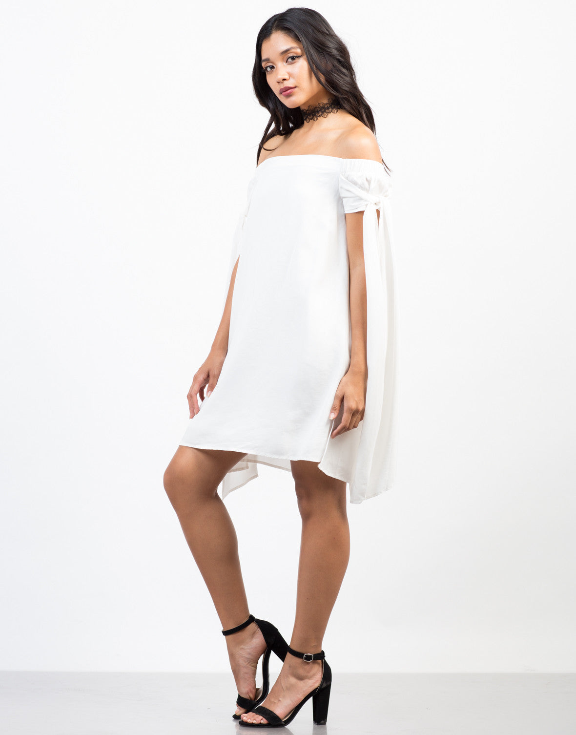 Side View of Free Flow White Dress