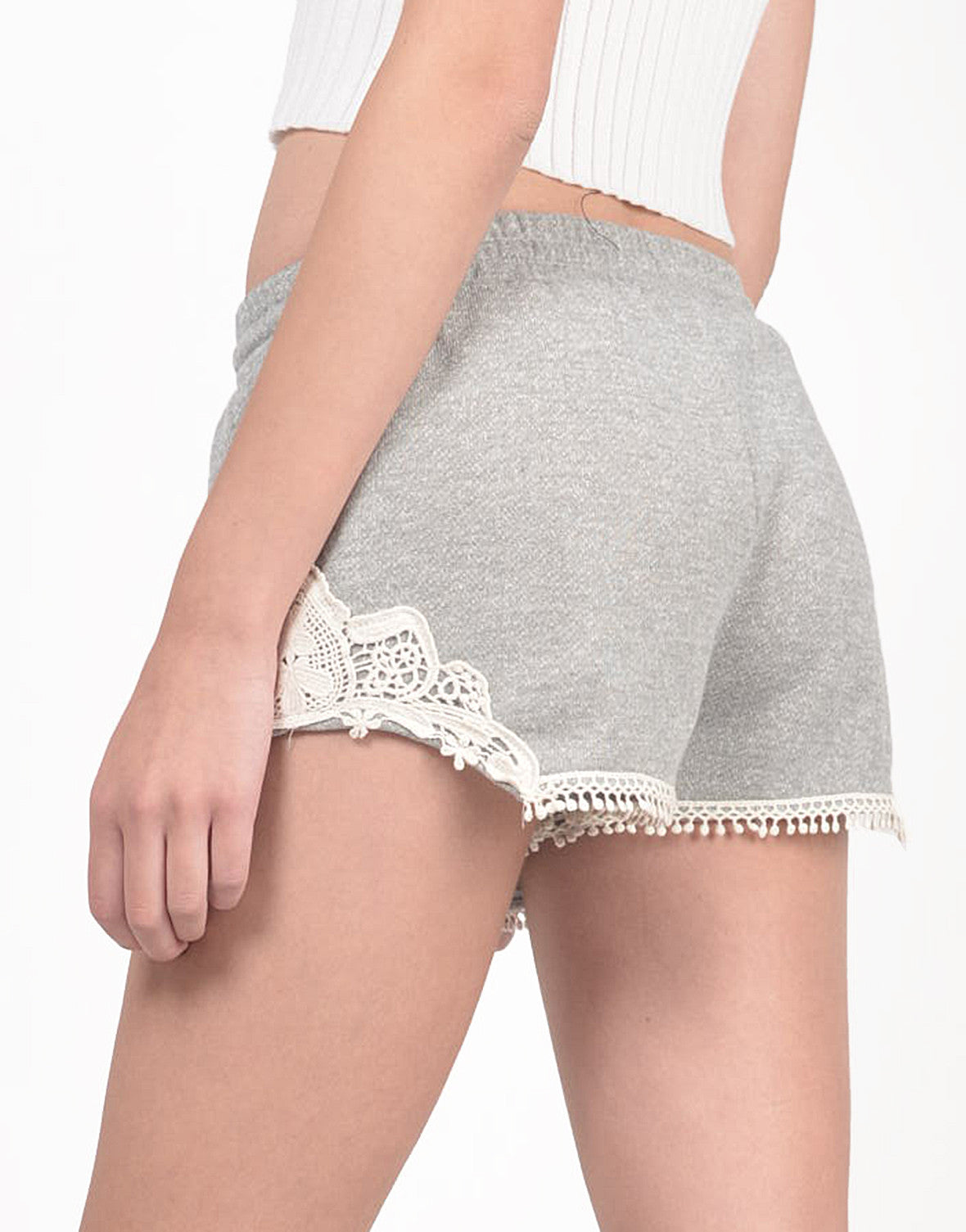 Detail of French Terry Crochet Shorts