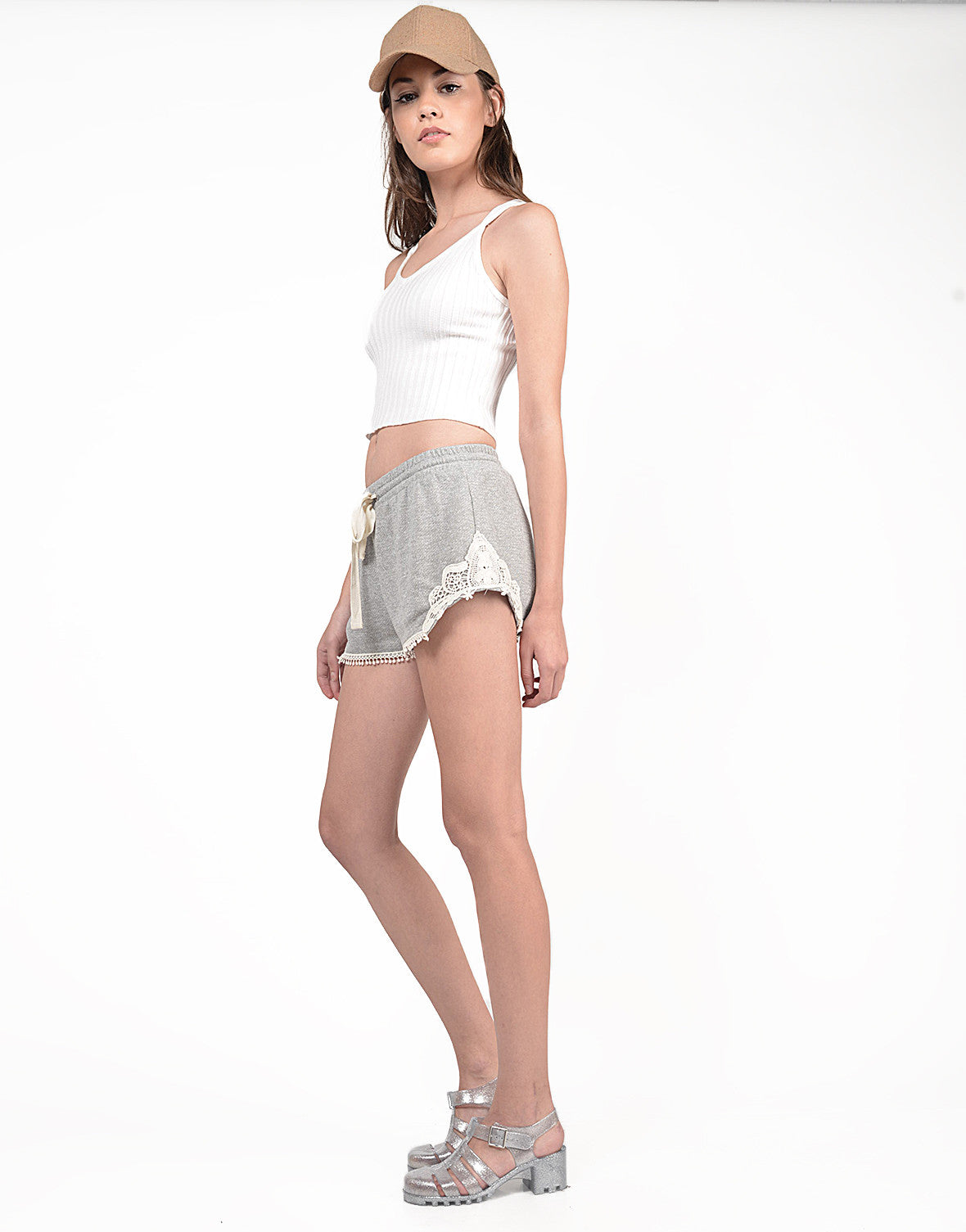 Side View of French Terry Crochet Shorts