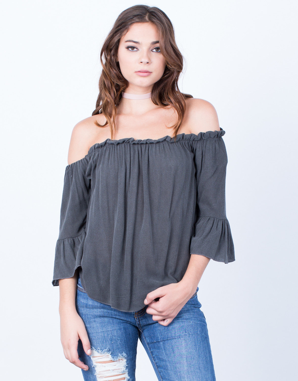 Front View of Frilly Bell Sleeve Top
