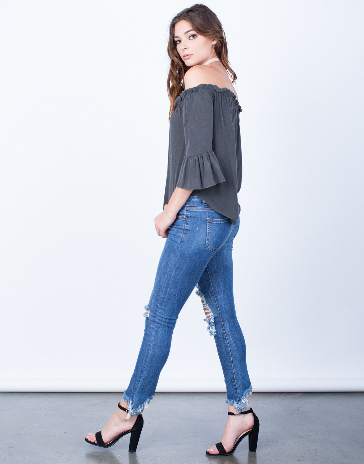 Side View of Frilly Bell Sleeve Top