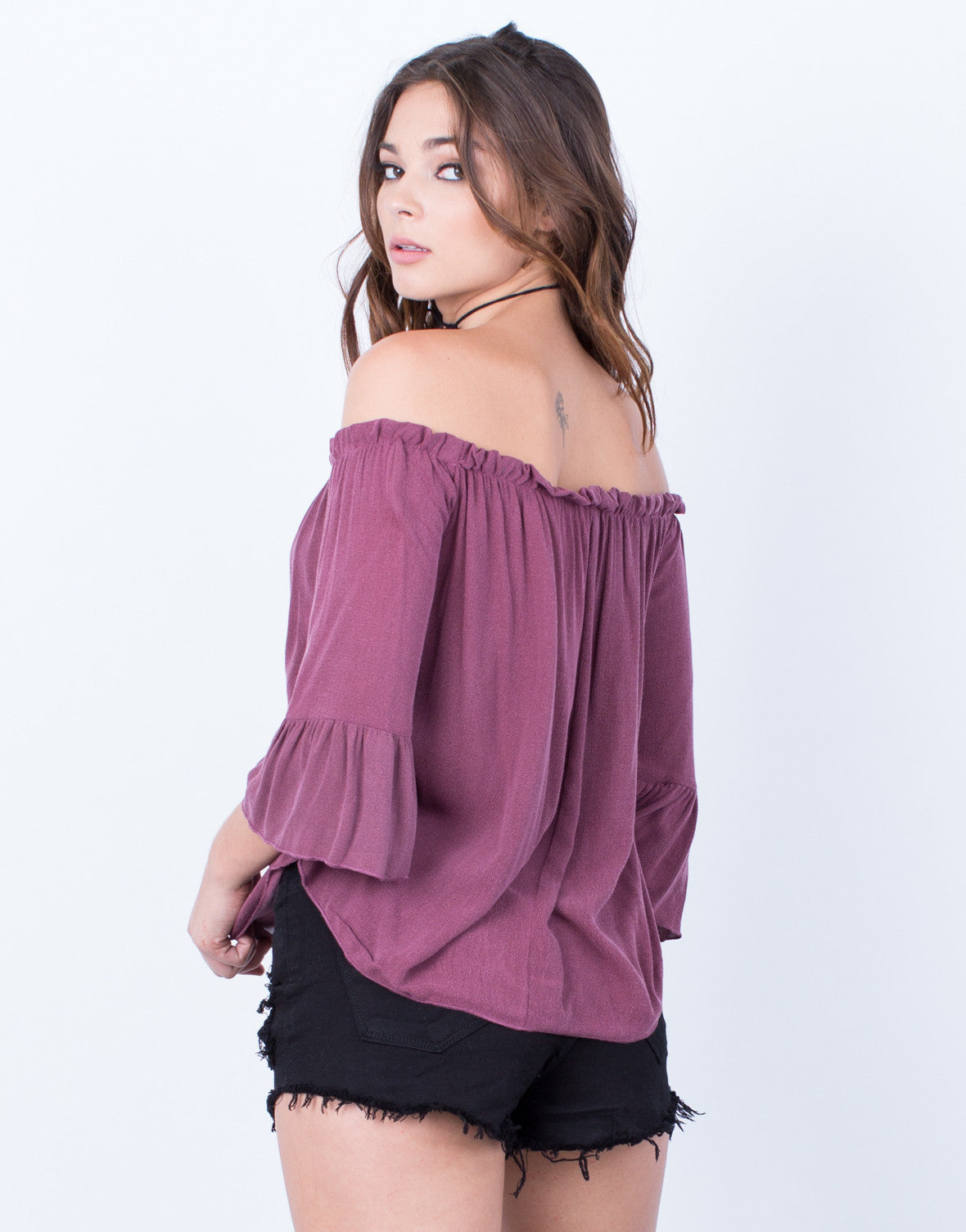Back View of Frilly Bell Sleeve Top
