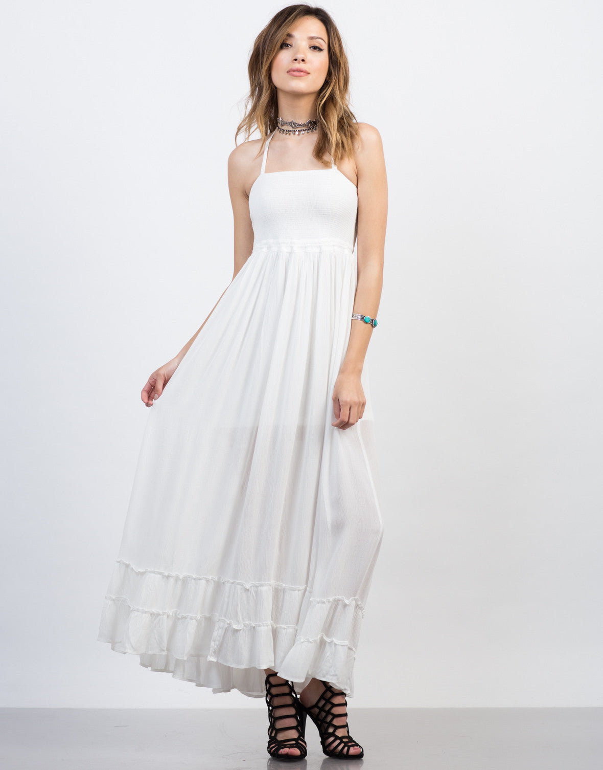 Front View of Frilly Halter Maxi Dress