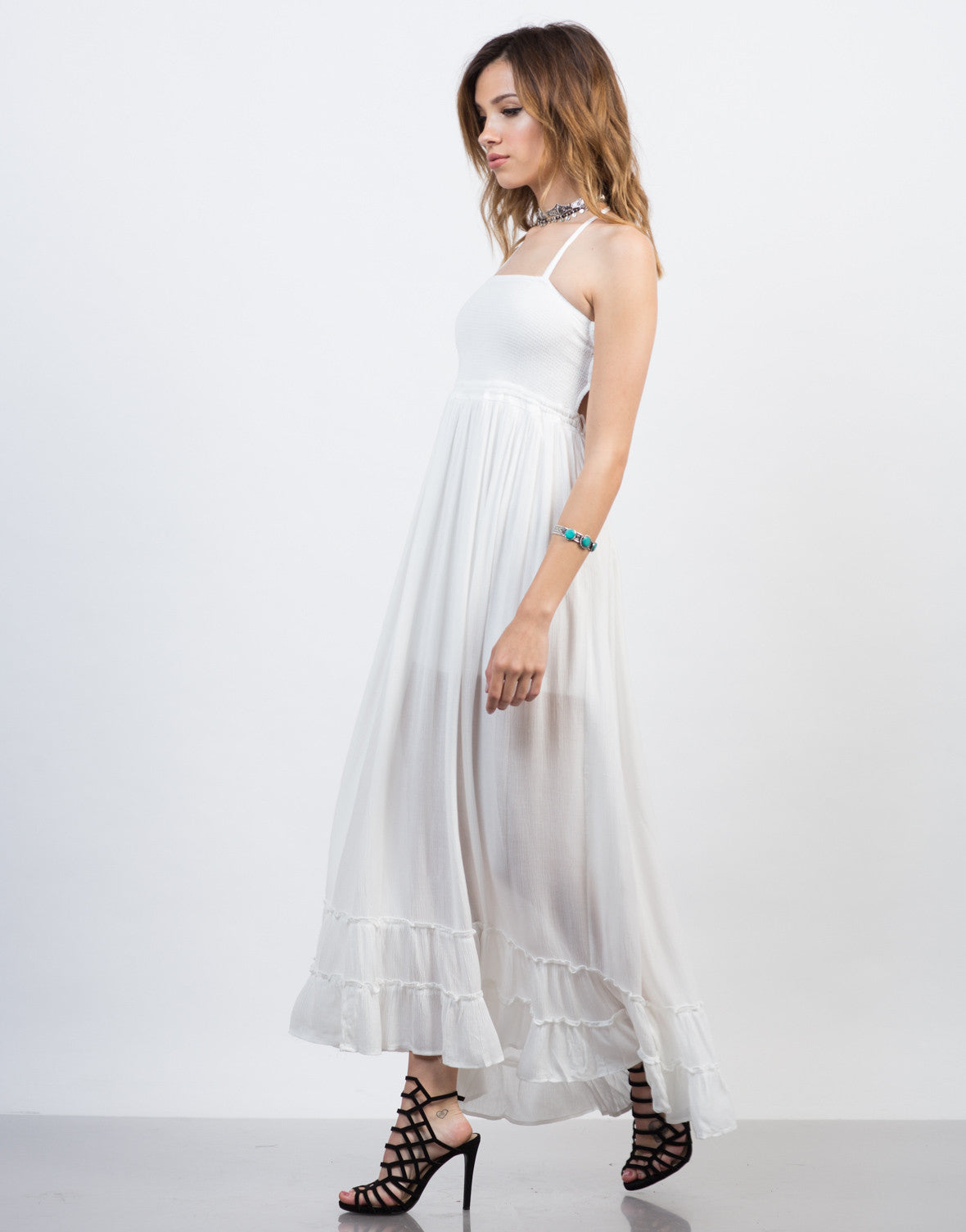 Side View of Frilly Halter Maxi Dress