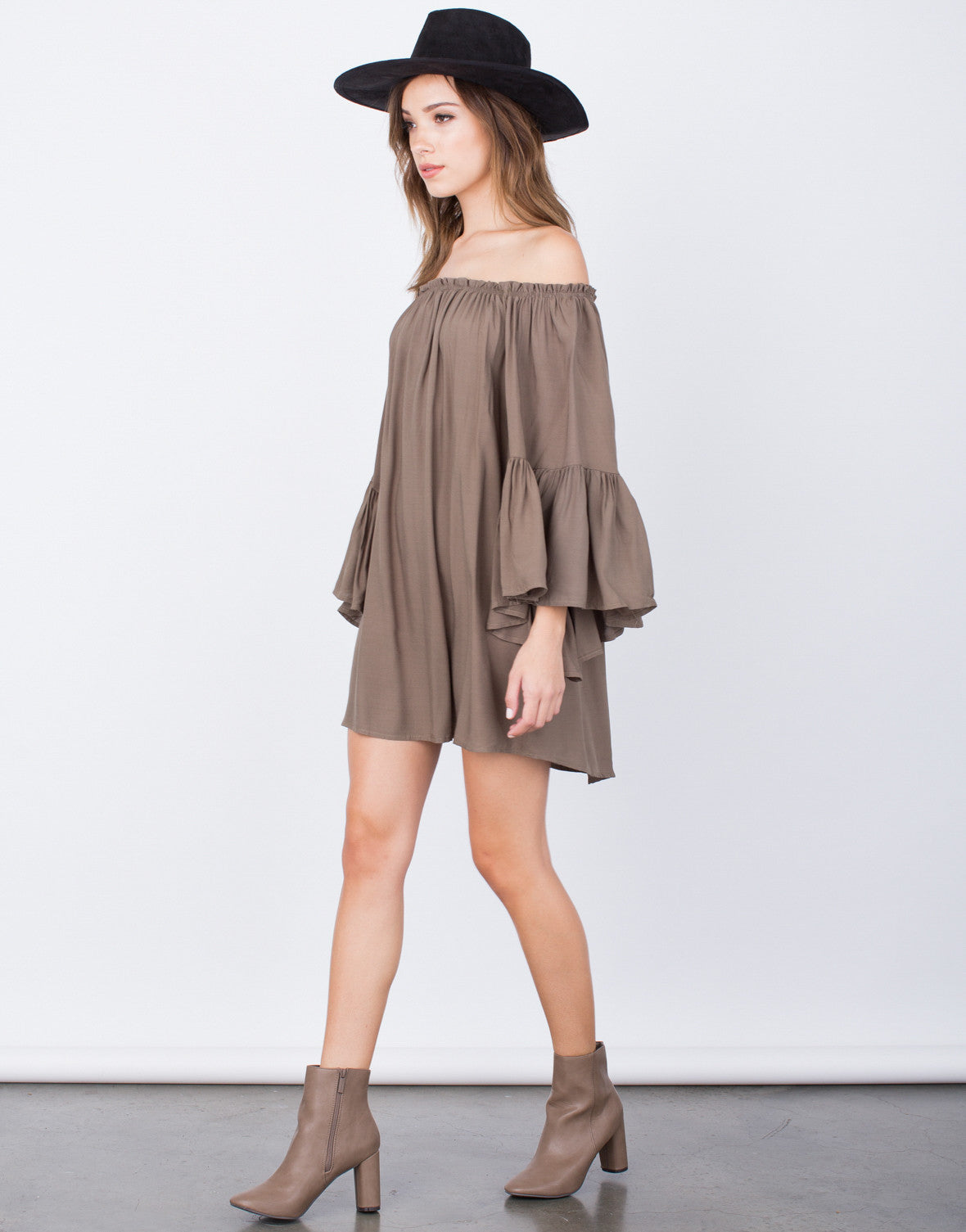 Side View of Frilly Off-the-Shoulder Dress