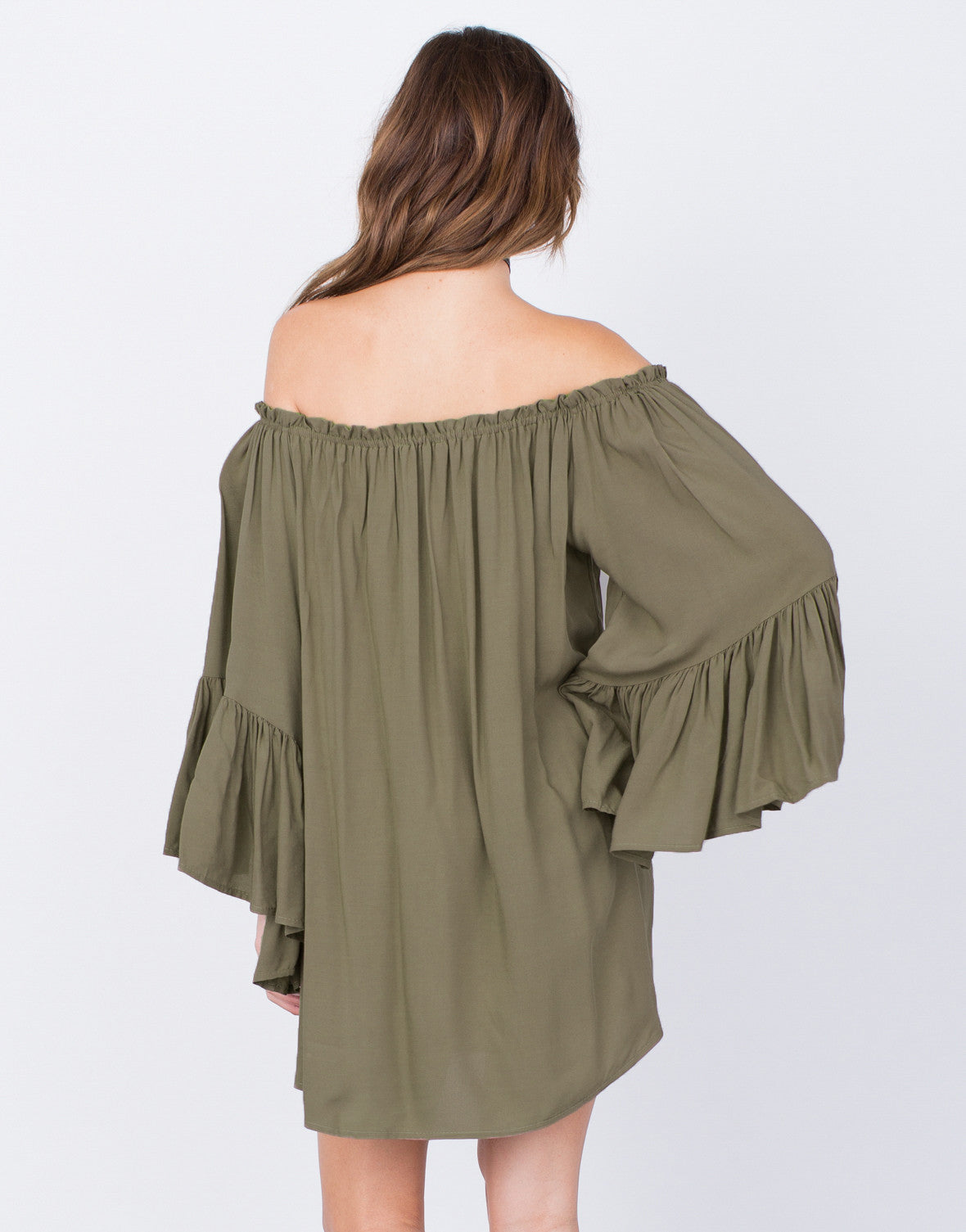 Back View of Frilly Off-the-Shoulder Dress