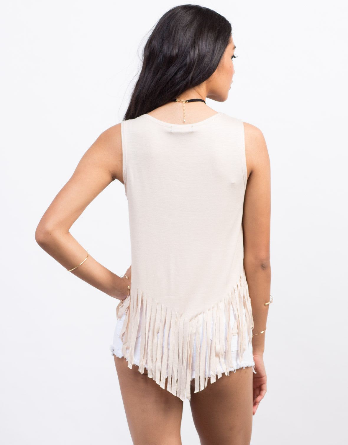 Back View of Fringe Muscle Tank