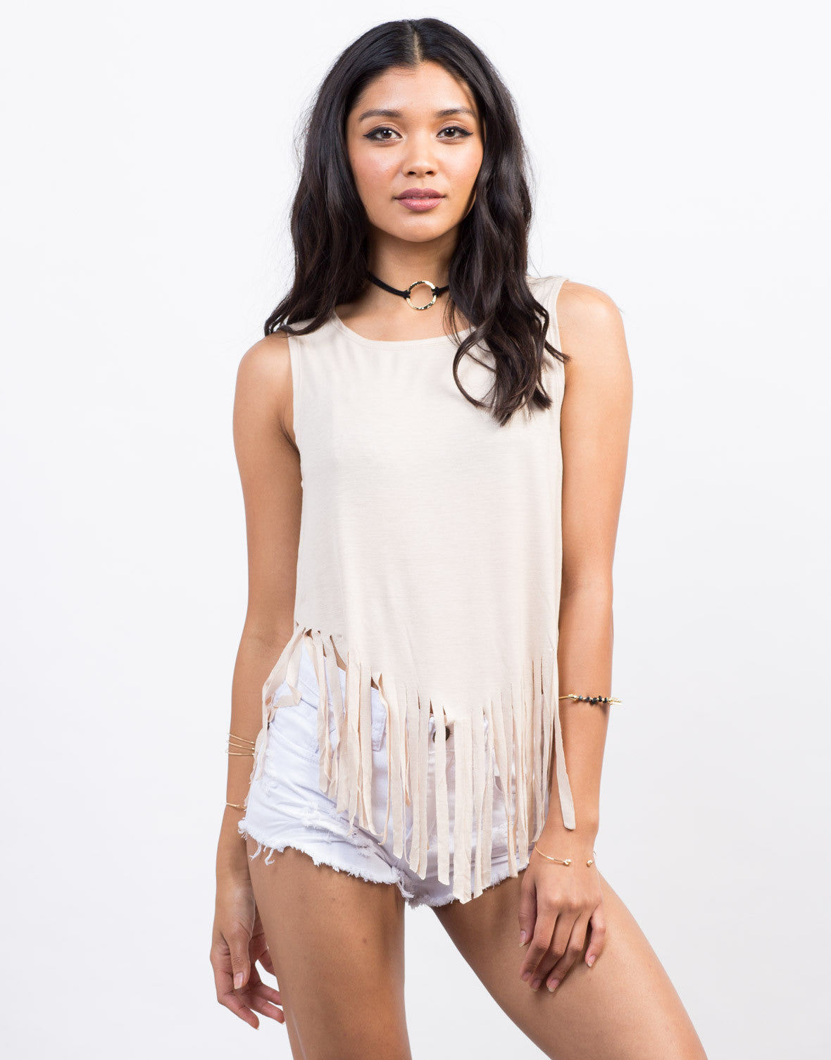 Front View of Fringe Muscle Tank