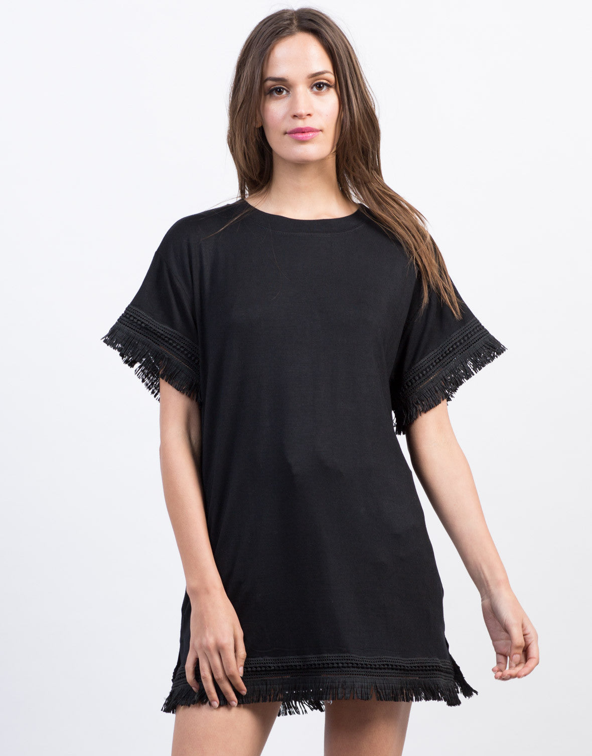 Fringe Trim Oversized Tunic Tee - 2020AVE