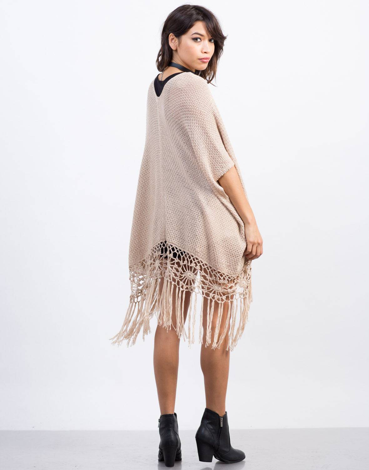 Back View of Fringed Knit Cardigan