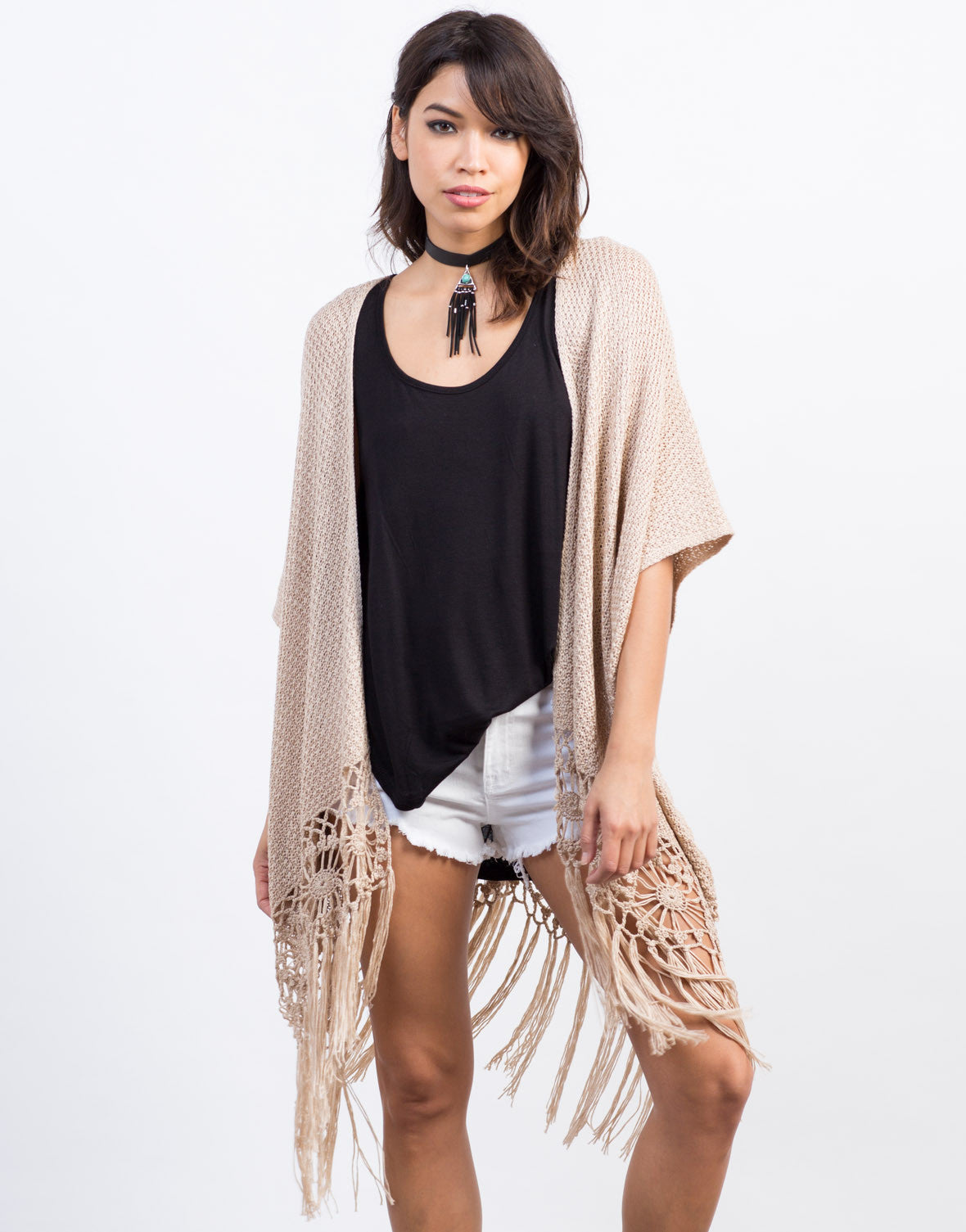 Front View of Fringed Knit Cardigan