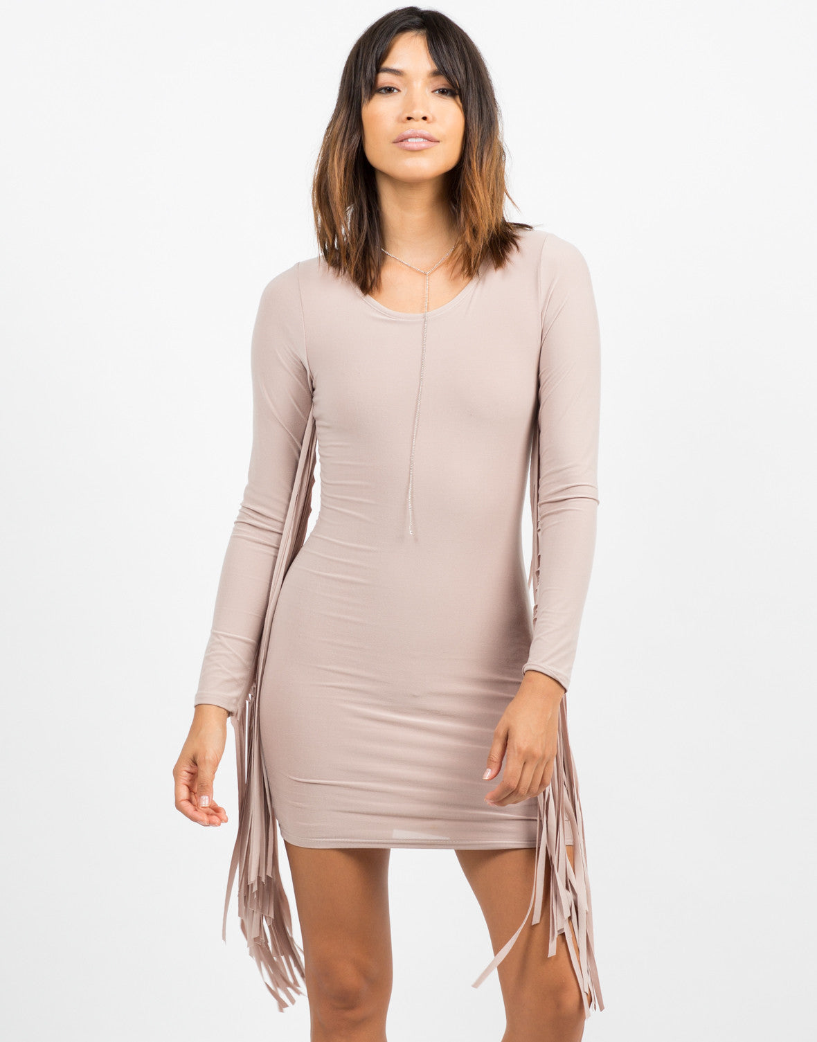 Front View of Fringed Bodycon Dress