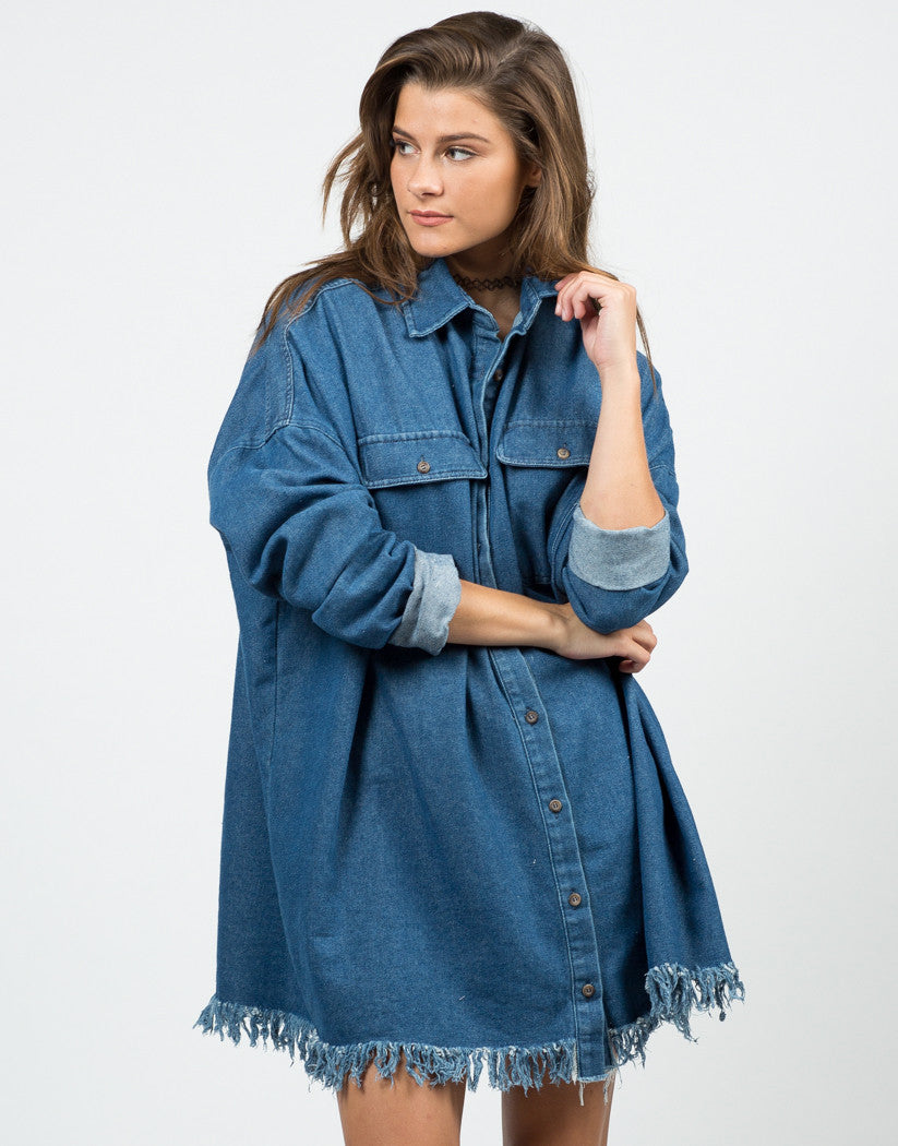 Fringed Denim Boyfriend Shirt - 2020AVE