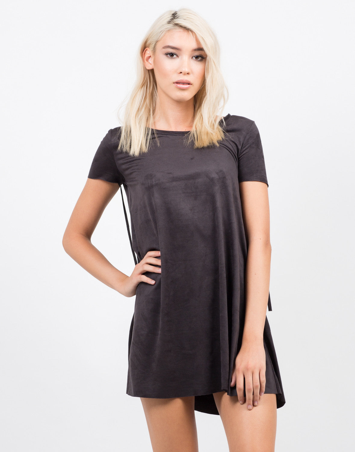 Front View of Fringe Detailed T-Shirt Dress