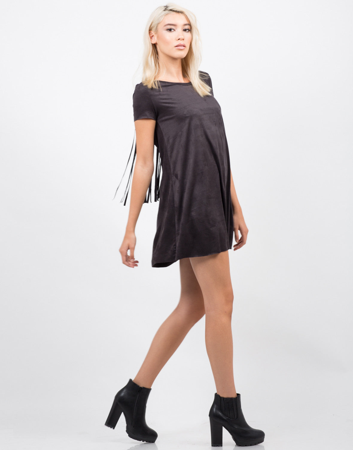 Side View of Fringe Detailed T-Shirt Dress