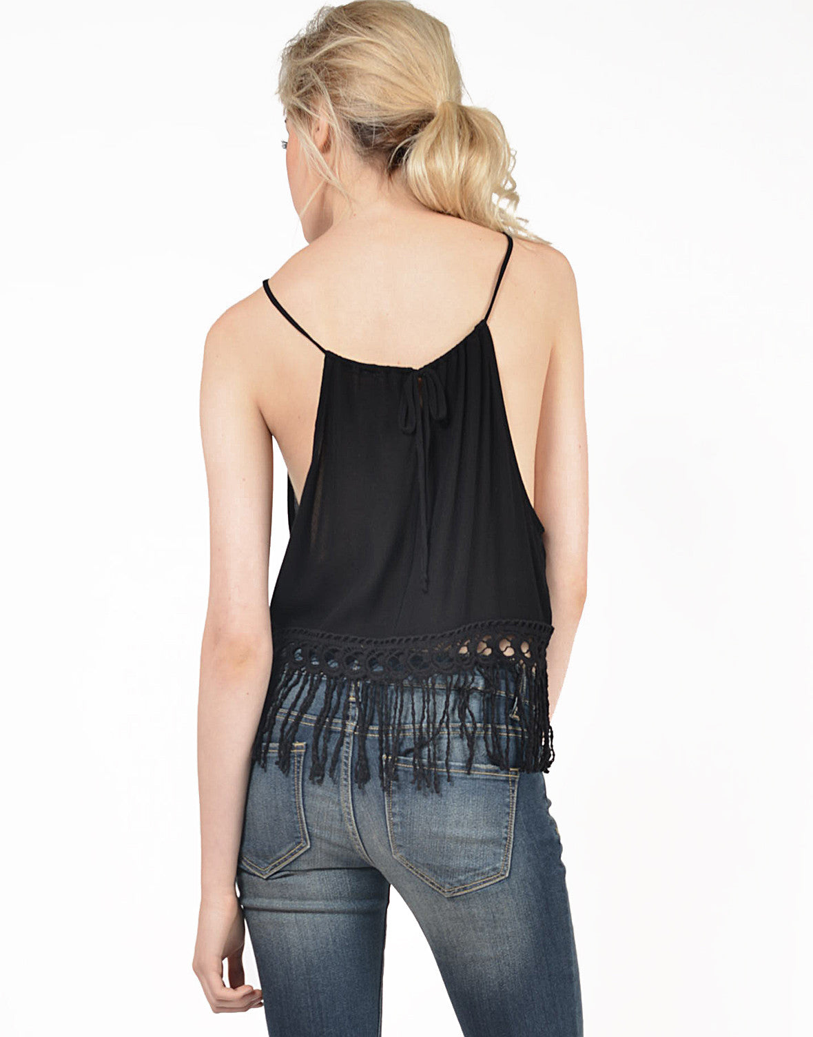 Back View of Fringed Halter Tie Back Tank