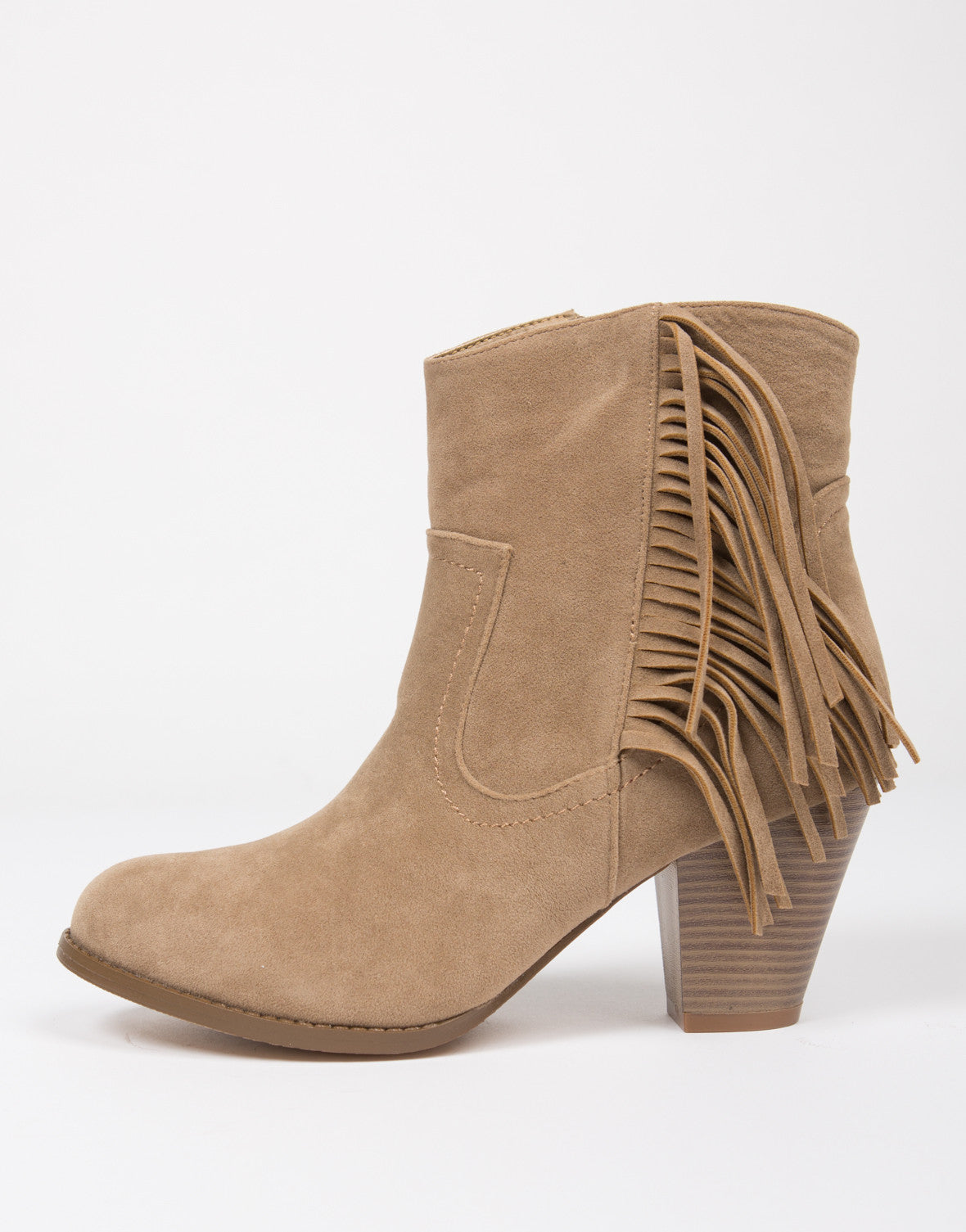 Fringed Leather Ankle Boots