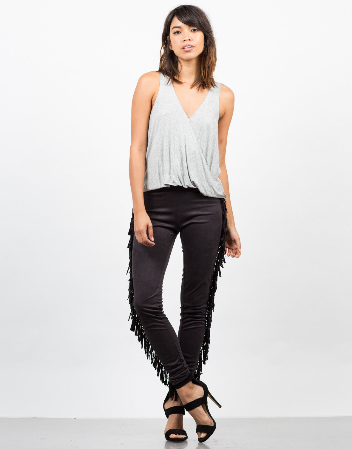 Front View of Fringed Out Leggings