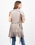 Back View of Fringed Out Suede Vest
