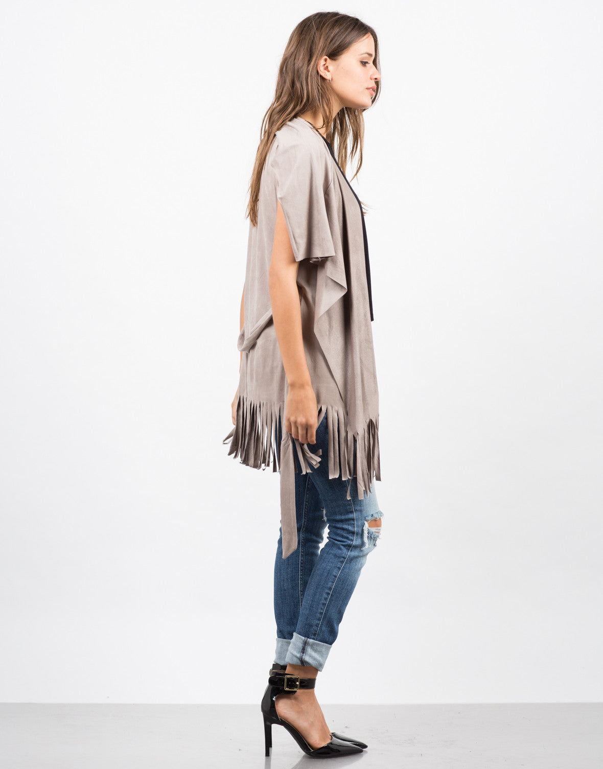 Side View of Fringed Out Suede Vest