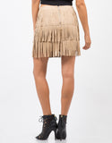 Back View of Fringed Suede Mini Skirt