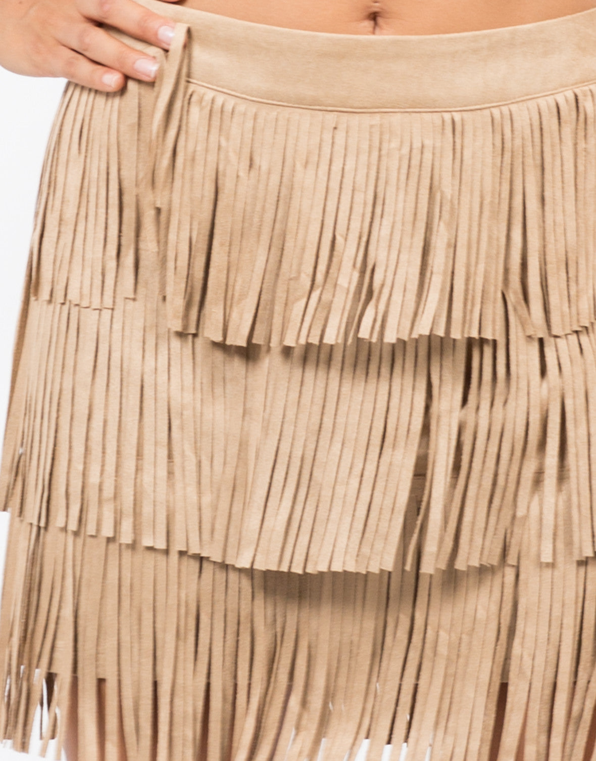 Detail of Fringed Suede Mini Skirt