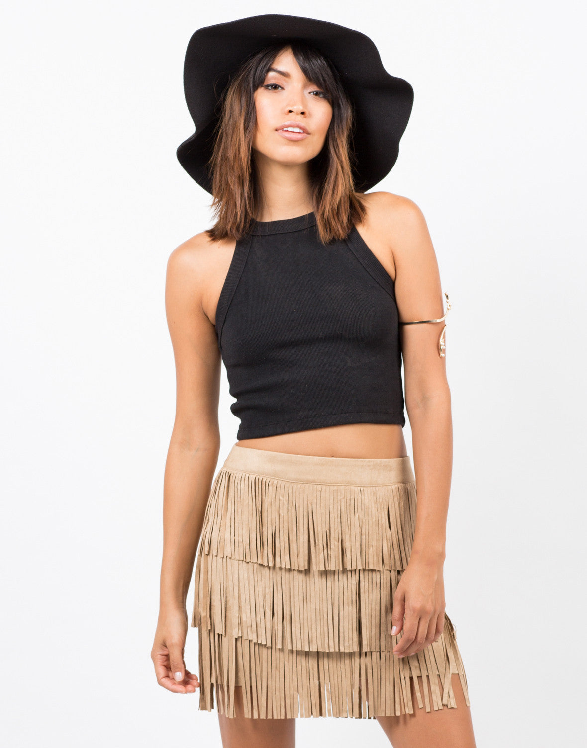 Front View of Fringed Suede Mini Skirt