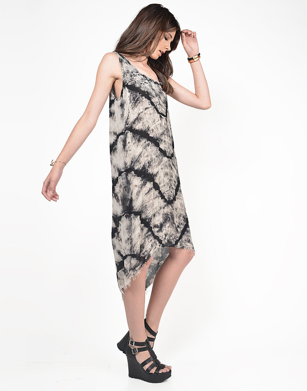Side View of Fringed Tie-Dye Dress