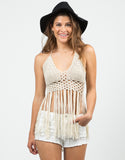 Front View of Fringe Halter Top