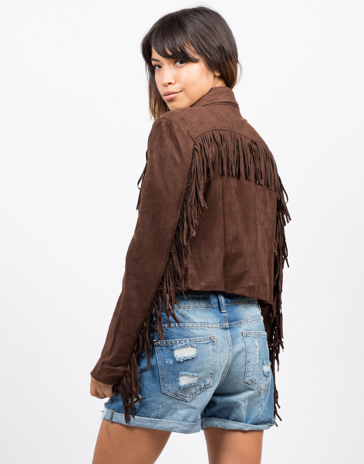Back View of Fringe Suede Moto Jacket - Brown