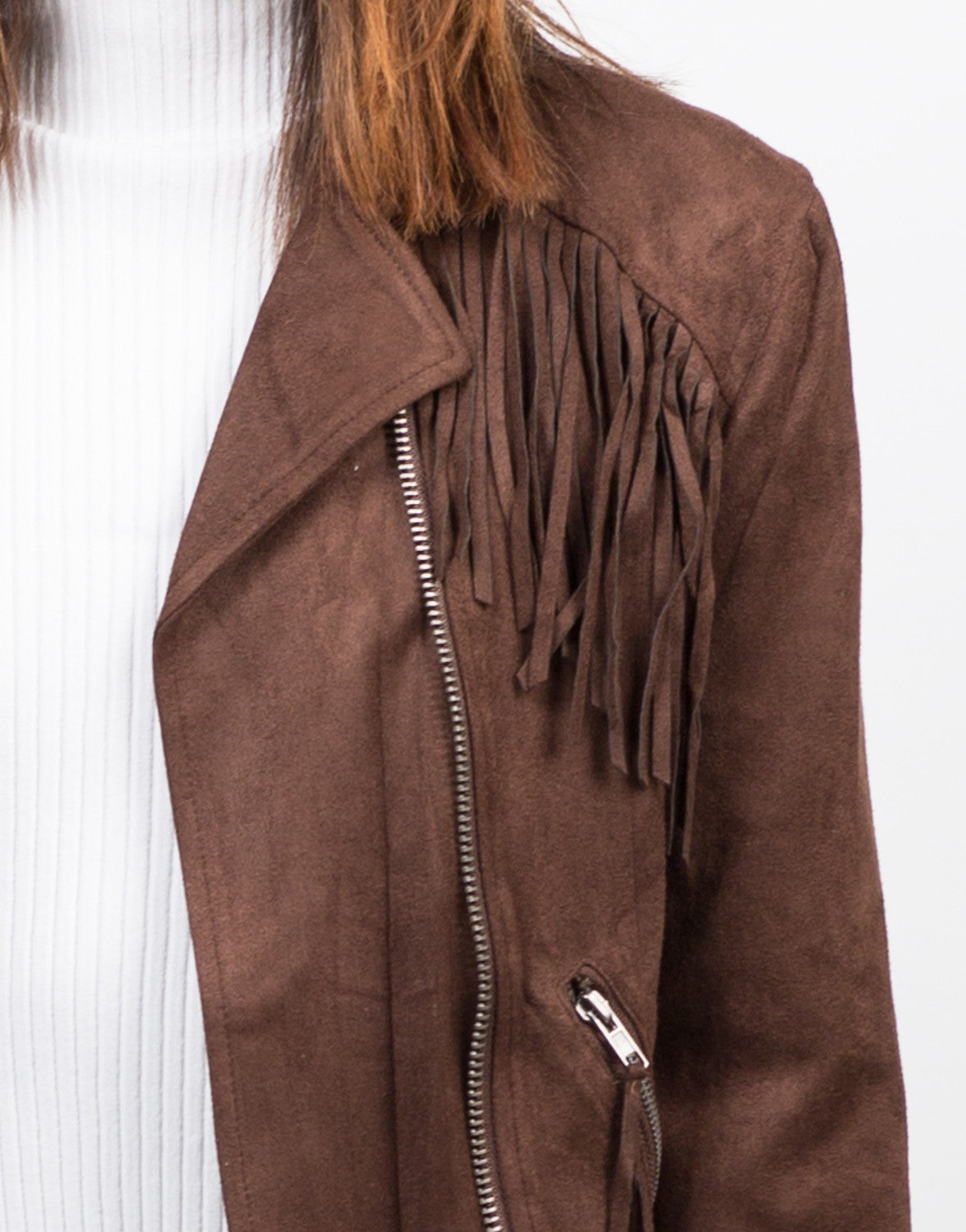 Detail of Fringe Suede Moto Jacket - Brown