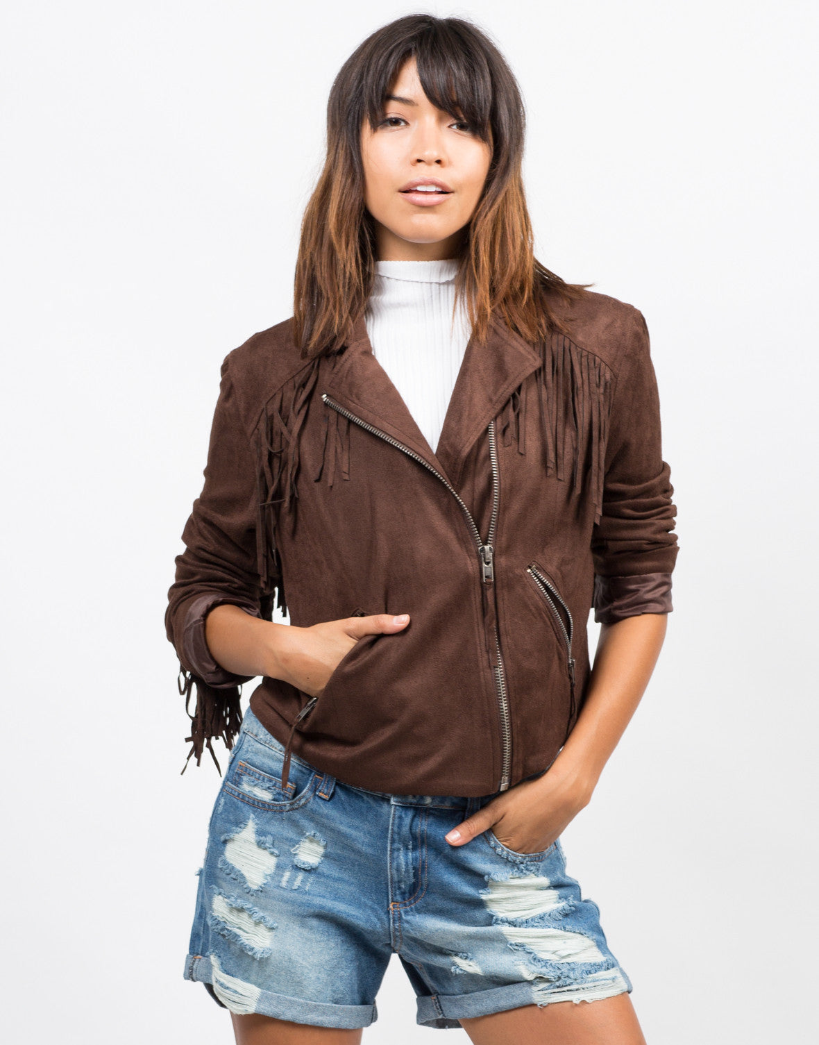 Front View of Fringe Suede Moto Jacket - Brown