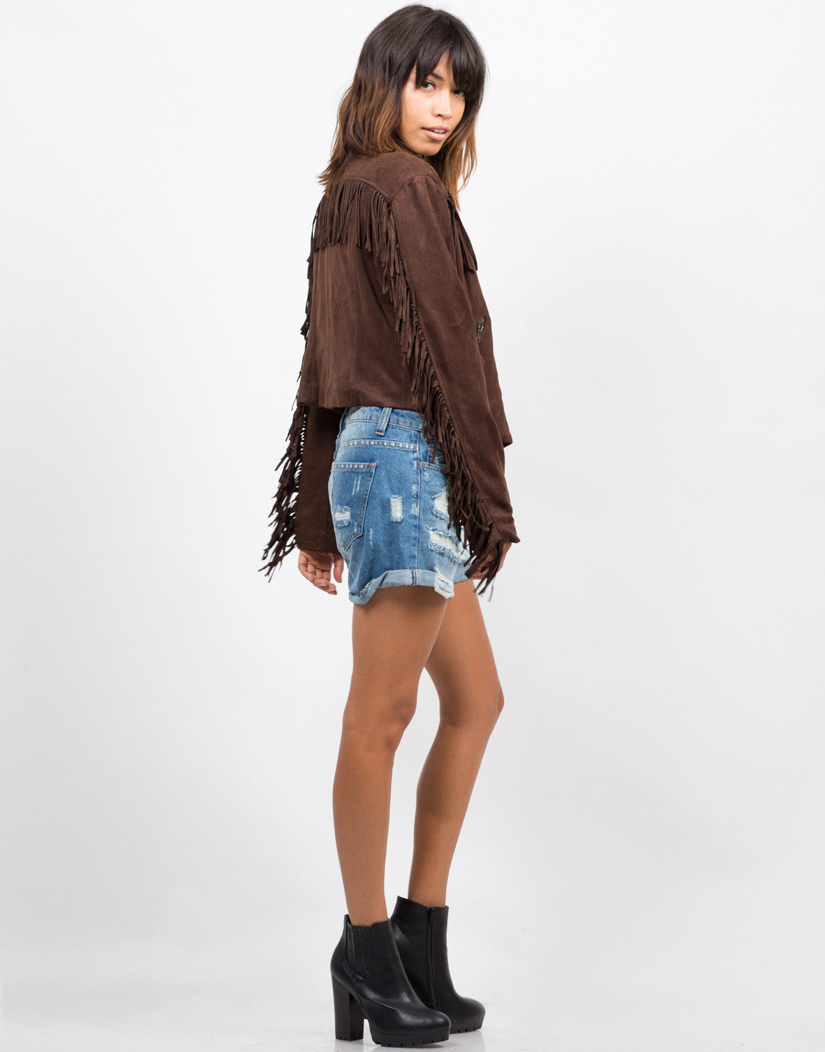 Side View of Fringe Suede Moto Jacket - Brown