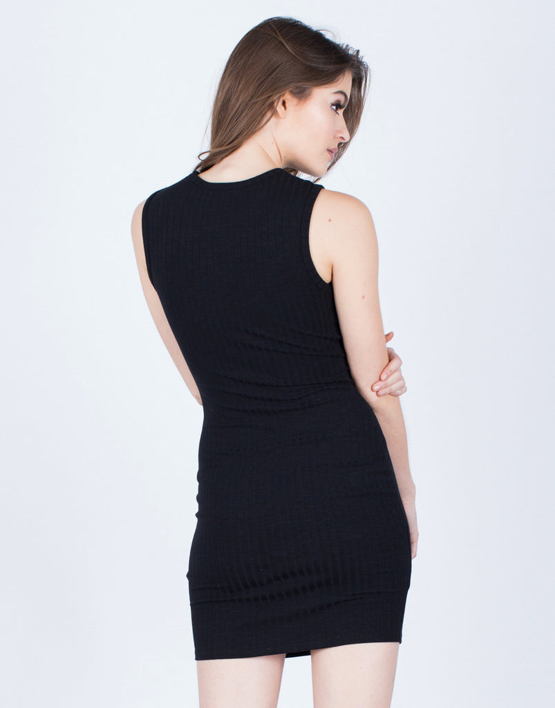 Front Cut Out Ribbed Dress - 2020AVE
