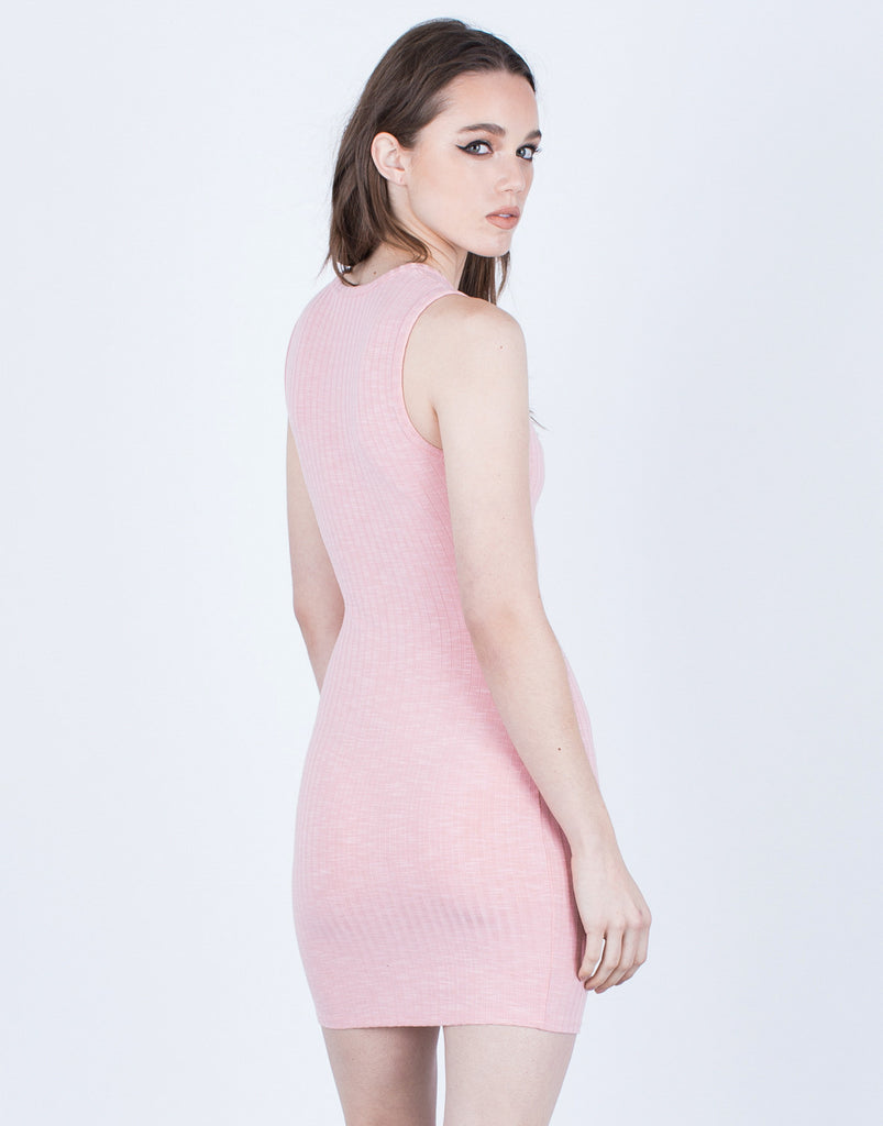 Back View of Front Cut Out Ribbed Dress