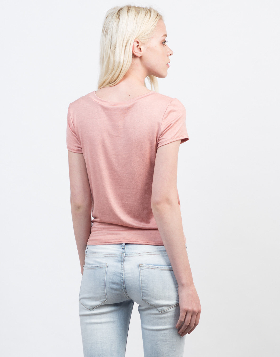 Back View of Front Knotted Tee
